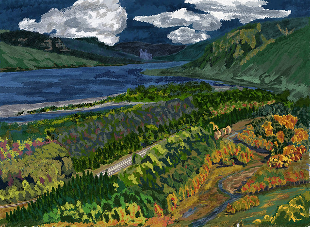 My Travel Paintings - Columbia River Gorge Crown Point