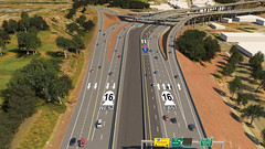 Eastbound SR 16 to SB I-5 temporary alignment in April 2019