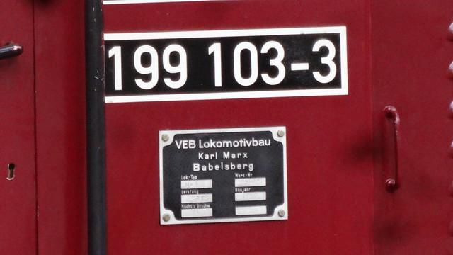 1957 Berlin-O. Typenschild Diesellok Ute 199 103-3 Typ Ns4b von Lokomotivbau Karl Marx Babelsberg (LKM) Werk-Nr. 250026 Pioniereisenbahn Volkspark Wuhlheide An der Wuhlheide 189 in 12459 Oberschöneweide
