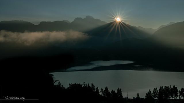 Sunset on St-Moritz Lake (Switzerland)
