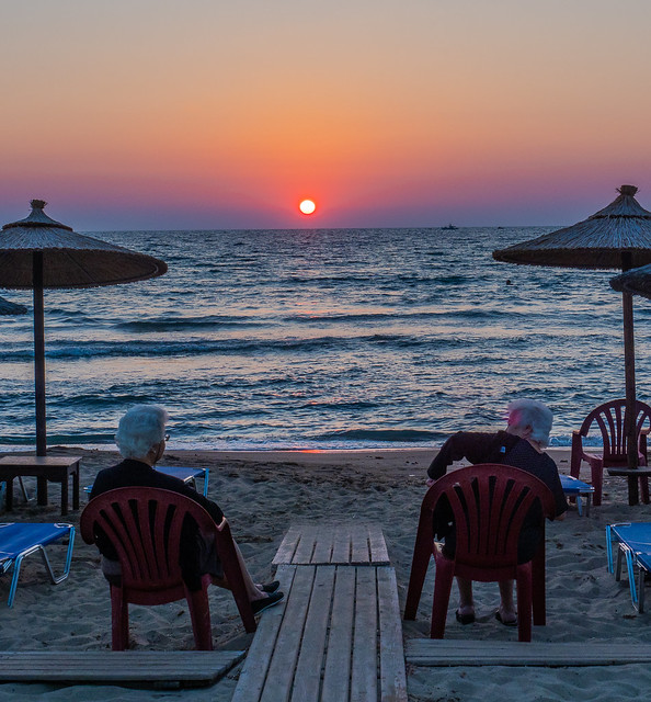 Two Elderly Ladies Settle Down to Watch the Sunset ( Agios Ionnis Beach - Myrina Town - Limnos  - Greece (Olympus OM-D EM1-II &  M.Zuiko 12-40mm f2.8 Pro Zoom) (1 of 1)