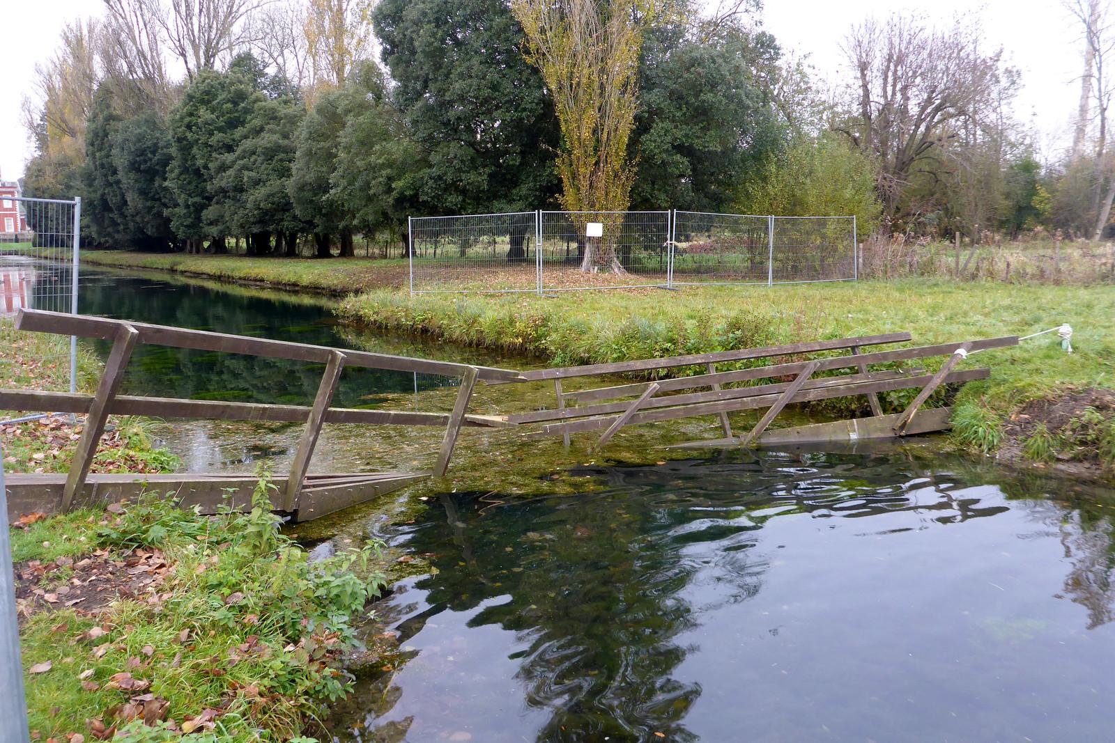 Broken footbridge
