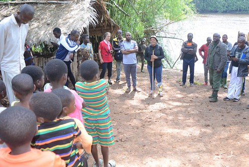 Head warden speaks to school chilidren in Kakongo | by teresehart