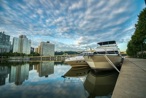 alleghenyriver hdr nikon nikond5300 northshoretrail pennsylvania pittsburgh boat boats city clouds downtown geotagged longexposure morning reflection reflections river sky skyscrapers water unitedstates