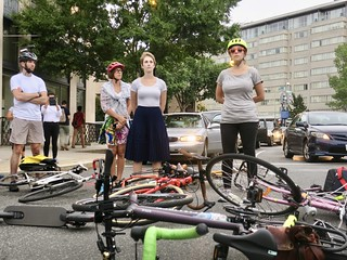 cyclists block street in safety protest | by Joe in DC