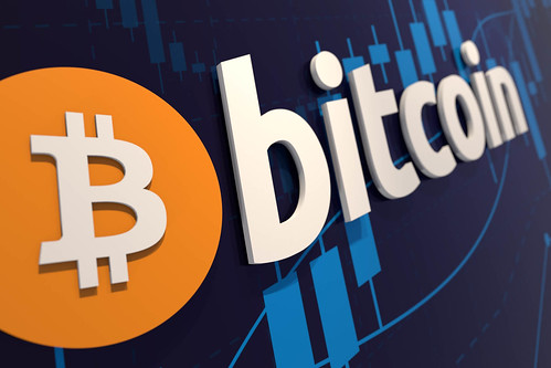Bitcoin wall logo with stock price chart | by QuoteInspector.com