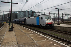 Railpool 186 110 met kolentrein te Amsterdam CS 13 april 2018