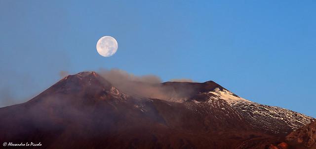 Etna' summit craters & Moon