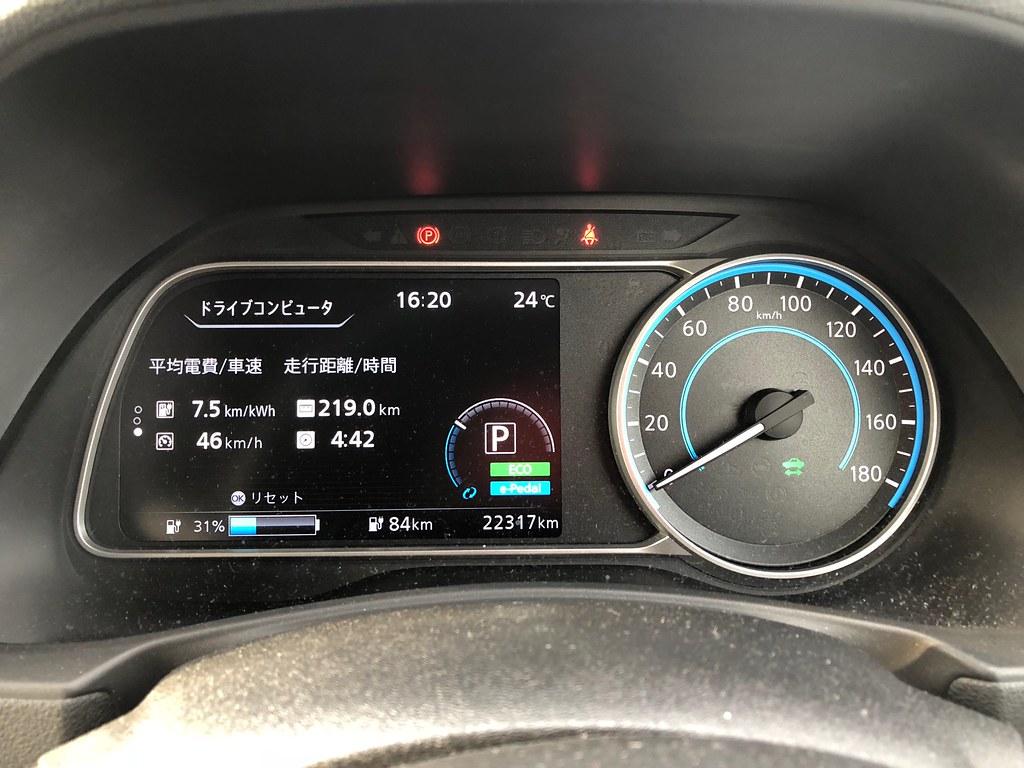 常磐自動車道 中郷SA(下り)到着時 日産リーフ(40kWh)メーター エアコンON