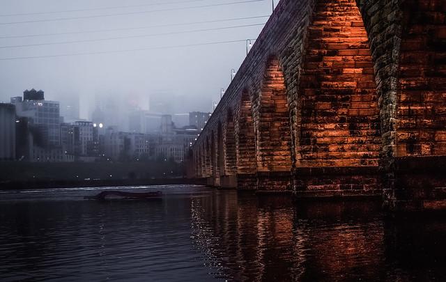 Fog blocking Minneapolis skyline