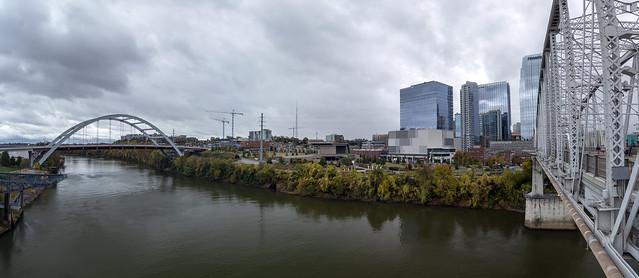 Skyline, John Seigenthaler Pedestrian Bridge, Cumberland River, Nashville, Davidson County, Tennessee 1