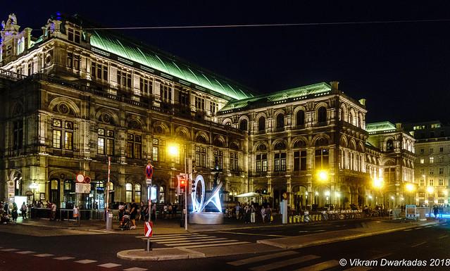 Night view of Vienna Opera house, Vienna, Austria