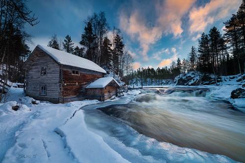 lapland finland oulanka river mill rapids snow ice clouds logan darklogan1 winter sunrise sonyilce7rm2 zeissze1528 cold