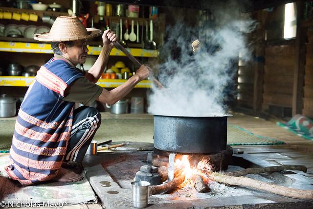 Idi Mishmi Man Cooking At His Hearth