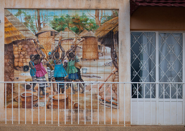 Mosaic depicting a rural scene in an angolan village on a balcony house, Huambo Province, Huambo, Angola