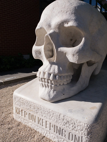 2018 bendigo victoria australia sculpture skull art opa auspctagged3552 pc3552 iphonexs bendigopc3552 monchromatic bw trove australiainpictures troveaus unfound vertical