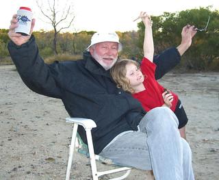 150806  Crystal & Grandad Geoff celebrating at Camp Curlewis Bay