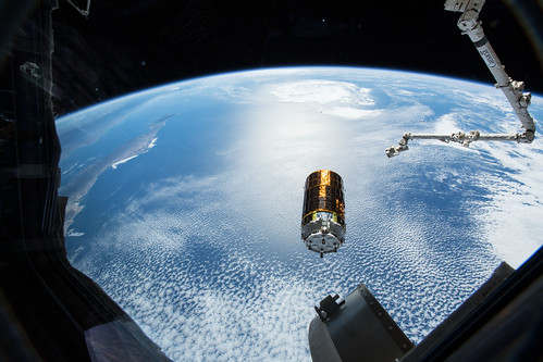 Japan's HTV-7 resupply ship is pictured after it was released from the grips of the Canadarm2 | by NASA Johnson
