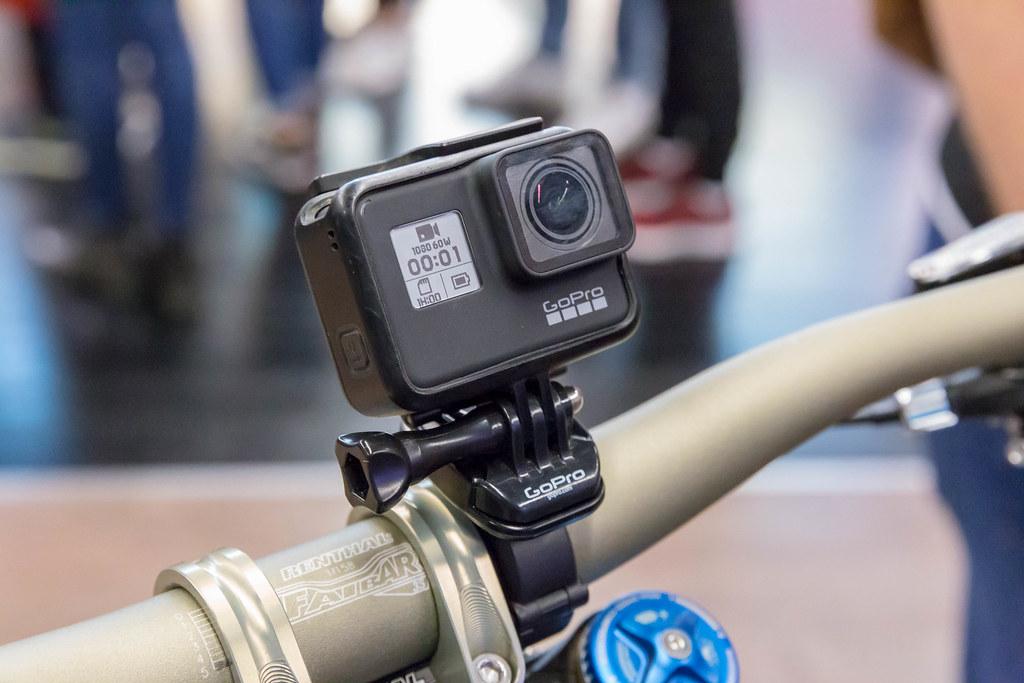 Action camera GoPro Hero 7 black fixed on a bike handlebar… | Flickr