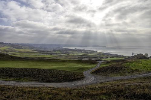 chambersbay pugetsound landscape trail crepuscularrays golfcourse ketronisland scenic