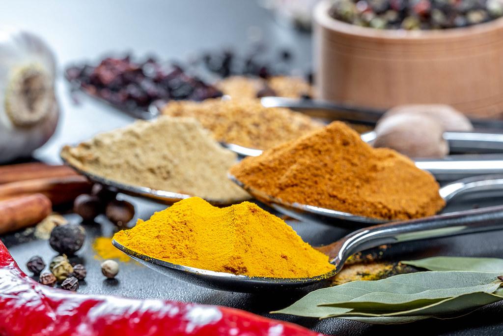 Natural spices: turmeric, ginger, pepper, mustard, barberr