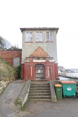 Abandoned sunbathing building, South Bay, Scarborough.  October 2018