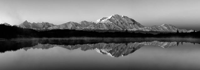Mt.Mckinley Morning Reflection Black & White