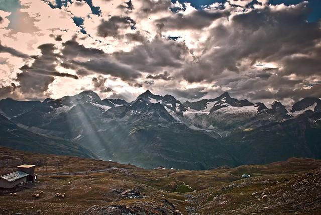 Twilight time on Zermatt, Taken from Rotenboden, Canton of Valais . Switzerland. izakigur 20.07.10, 19:43:14 . No. 1204.