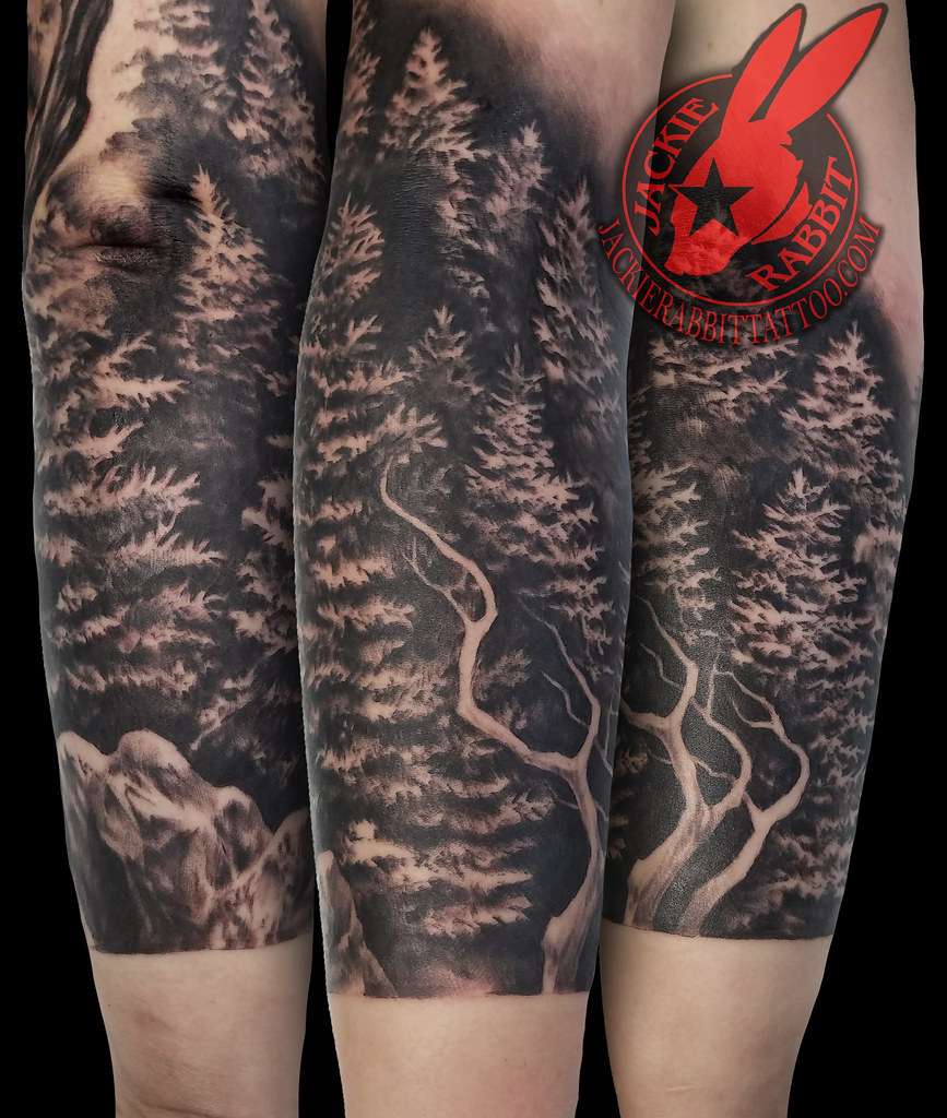 a33ee83a4 ... Pine Trees Ridge Mountain Branch Realistic Real 3D Black and Grey  Sleeve Tattoo by Jackie Rabbit