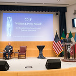Thu, 09/20/2018 - 14:11 - On Thursday, September 20, 2018, the William J. Perry Center for Hemispheric Defense Studies honored General Salvador Cienfuegos Zepeda, Secretary of National Defense of Mexico, and Escola Superior de Guerra (ESG), National War College of Brazil, with the 2018 William J. Perry Award for Excellence in Security and Defense Education. Named after the Center's founder, former U.S. Secretary of Defense Dr. William J. Perry, the Perry Award is presented annually to individuals who and institutions that have made significant contributions in the fields of security and defense education. From the many nominations received, awardees are selected for achievements in promoting education, research, and knowledge-sharing in defense and security issues in the Western Hemisphere. Awardees' contributions to their respective fields further democratic security and defense in the Americas and, in so doing, embody the highest ideals of the Center and the values embodied by the Perry Award.