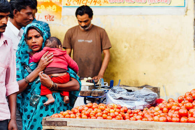 Woman With Infant in Market, Etawah India