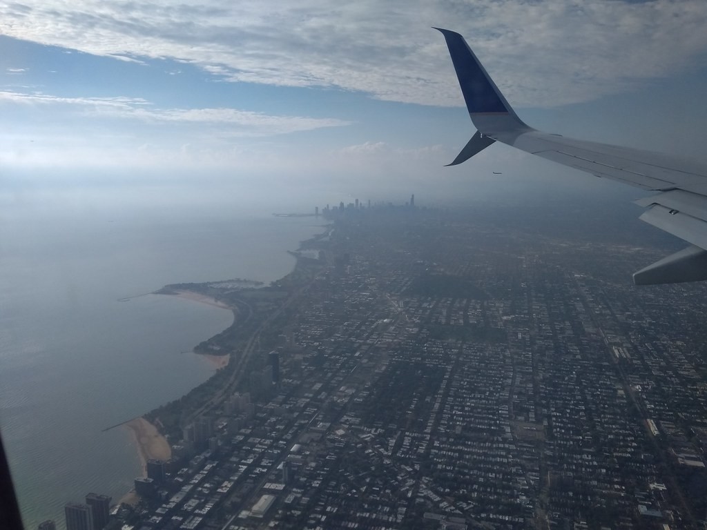 United Airlines flight over Chicago