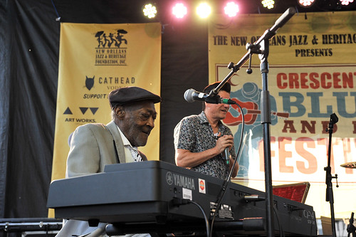 Henry Gray with Terrance Simien and Lil Buck Sinegal at Crescent City Blues & BBQ Fest - 10.14.18. Photo by Michael E. McAndrew.