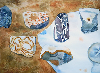 Watercolour painting of flint stones