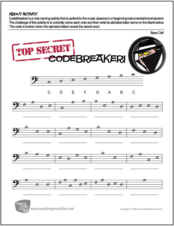 CodeBreaker!   Music Theory Worksheet - Bass Clef Note Nam ...