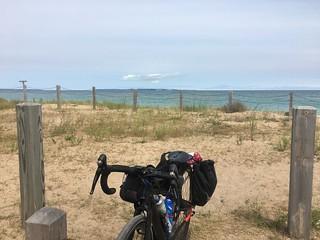 Kate's trusty bike, Glen Haven, Mi. Shoreline West, photo by Kate Kane