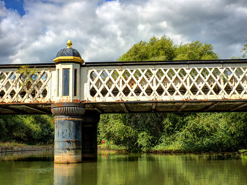 bridge railway railwaybridge historic oxford oxfordcanal water trees canal sky clouds landscape reflections