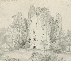 Bergkvara slottsruin Exterir. Bilden tagen p 1940 - Alamy