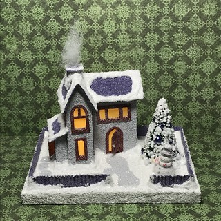 Grey and purple Putz house with snowman | by christmasnotebook