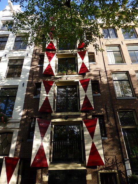 Red and white shutters