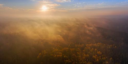 estonia mavic2pro tartumaa tartycounty aerial aerophoto autumn dronephoto mist misty outdoor road trees