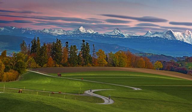 Autumn's  Alpine Panorama , taken from Gurten . Canton of Bern, Switzerland .izakigur 25.10.17, 18:38:25 .