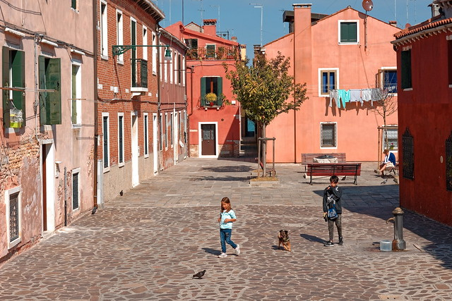 Venice /  Giudecca / Calle Ferrando / Two children with the dog