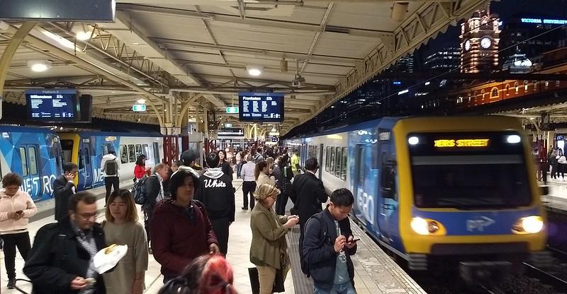 X'trapolis trains at Flinders Street