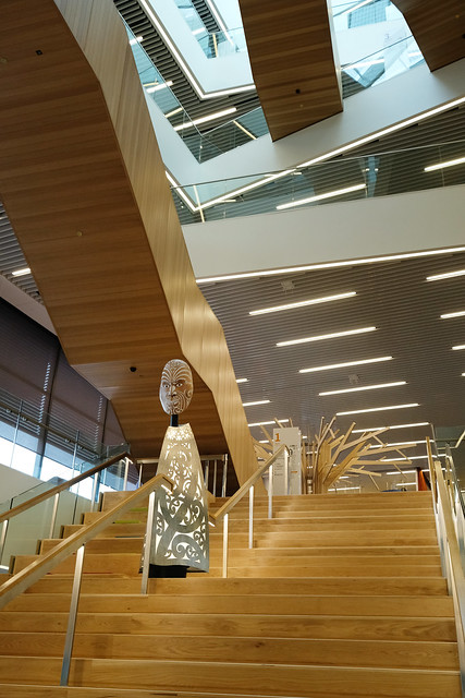 Artwork, Tāwhaki by Fayne Robinson, assisted by his nephew Caleb Robinson, atrium stairway