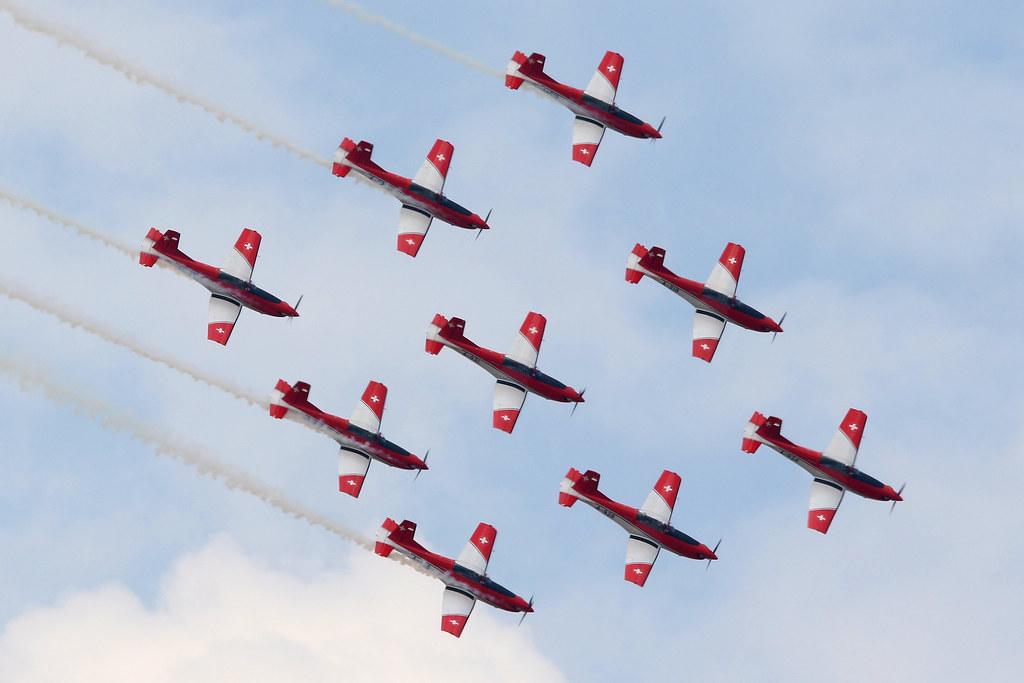 Swiss Air Force PC 7 Team RIAT 2018
