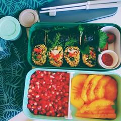 (60% raw) veg. (shiso) sushi bento 🍣 with whole rice