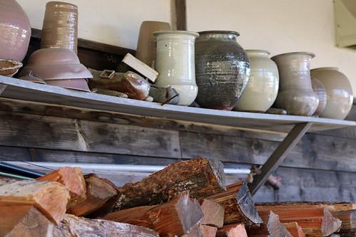 japan hokkaido shari pottery pot sample testpiece logs
