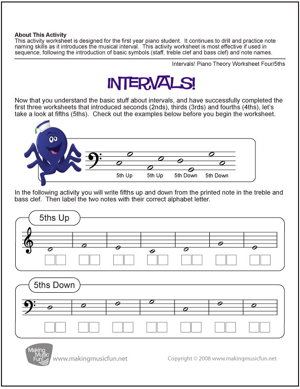 Intervals! (Fifth) | Free Music Theory Worksheet (PDF) | Flickr