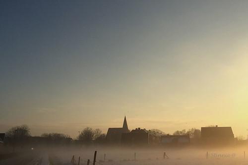 pictbystinnie misty village sunrise sky skyline